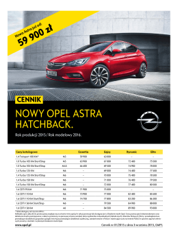 Nowy Opel Astra Hatchback ceny 2015