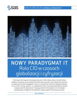 NOWY PARADYGMAT IT Rola CIO w czasach globalizacji i cyfryzacji