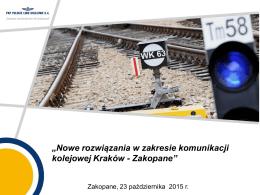 """""""Nowe rozwiązania w zakresie komunikacji kolejowej Kraków"""