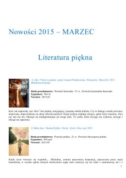 Nowości 2015 – MARZEC Literatura piękna