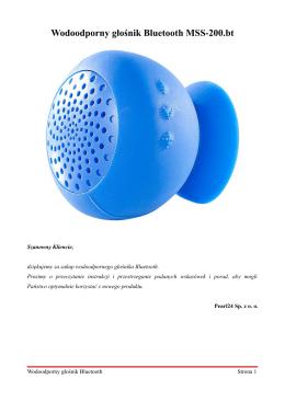 Wodoodporny głośnik Bluetooth MSS-200.bt