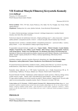 info o VII edycji (2015) - Festiwal Muzyki Filmowej Krzysztofa Komedy