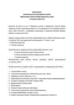 Sprawozdanie z działalności kontrolnej Wydziału Kontroli