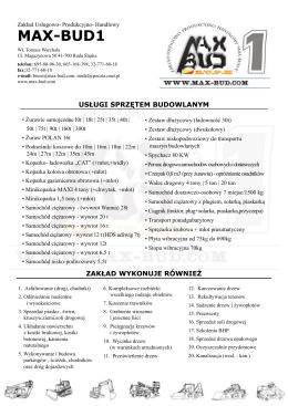 Oferta - Usługi Sprzętem Budowlanym