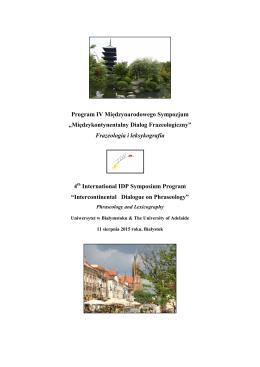Program IV Międzynarodowego Sympozjum
