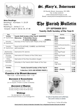 The Parish Bulletin - St Mary`s Inverness
