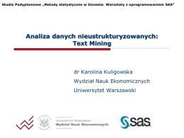 Analiza danych nieustrukturyzowanych: Text Mining