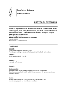 Parafia św. Svithuna Rada parafialna PROTOKOŁ Z ZEBRANIA