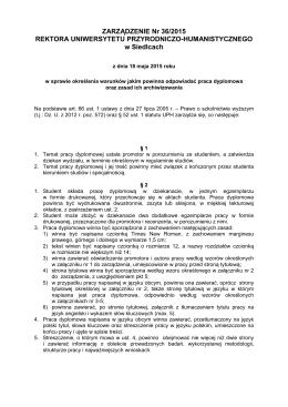 ZARZĄDZENIE Nr 36/2015 REKTORA UNIWERSYTETU