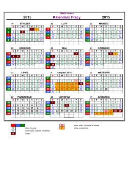 2015 Kalendarz Pracy 2015