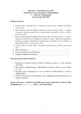 Plan pracy gimnazjum-koncepcja pracy szkoły 2015-2016