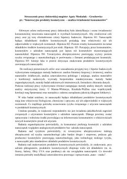 Streszczenie pracy doktorskiej magister Agaty Moskaluk