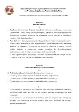 Regulamin prowadzenia prac dyplomowych i dyplomowania