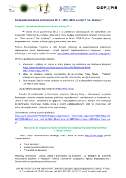 """Europejska kampania informacyjna 2014 – 2015 """"Stres w pracy"""