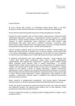 List Prezesa Zarządu Solar Company S.A. Szanowni Państwo, W
