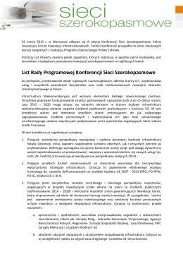 List Rady Programowej Konferencji Sieci Szerokopasmowe