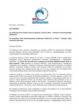 1 Warszawa, 7 VIII 2015 r. LIST OTWARTY Do właścicieli firmy