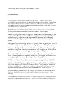 List Dyrektora Biura Edukacji do Rodziców dzieci 6
