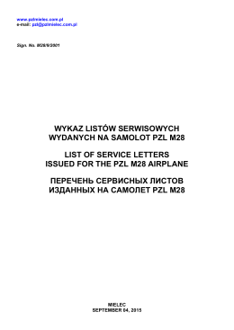 List of Service Letters issued for the PZL M28 Airplane