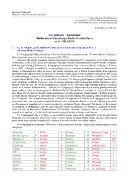 List jedności – Komunikat Moderatora Generalnego Ruchu Światło