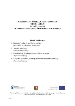 Strategia Współpracy Terytorialnej Miasta Lublin na lata 2014–2020