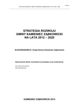 strategia rozwoju gminy kamieniec ząbkowicki na lata 2012 – 2020
