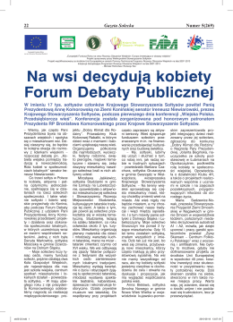 Na wsi decydują kobiety Forum Debaty Publicznej