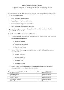 Protokół z posiedzenia Komisji w sprawie przyjęcia