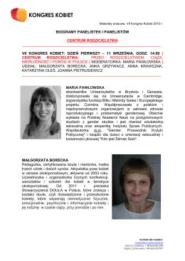 biogramy panelistek i panelistów centrum