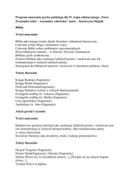 Program nauczania języka polskiego (IV etap edukacyjny)