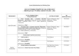 Szkolny zestaw podręczników dla klas II w roku szkolnym 2015-2016