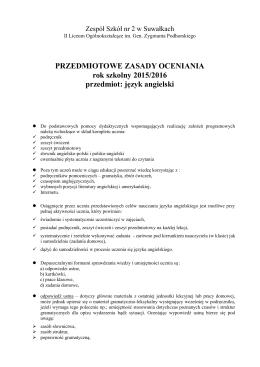 język angielski - Zespół Szkół nr 2 w Suwałkach