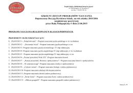 Zestaw programów na 2015-2016 - Zespół Szkół z Oddziałami