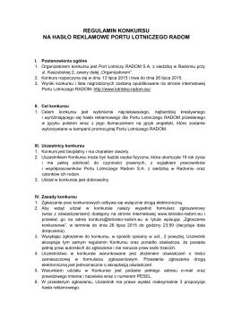 regulamin konkursu na hasło reklamowe portu lotniczego radom