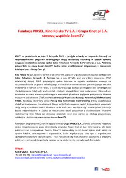 Fundacja PIKSEL, Kino Polska TV S.A. i Grupa Onet.pl S.A. stworzą