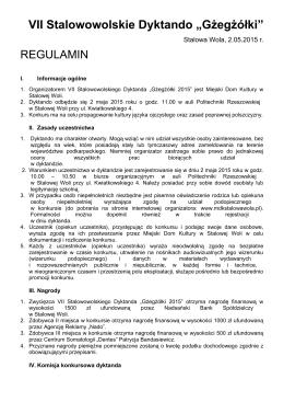 Gżegżółki 2015 – regulamin - Miejski Dom Kultury w Stalowej Woli