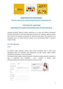 KOMPANIA WOLONTARIUSZY Instrukcja dla organizacji