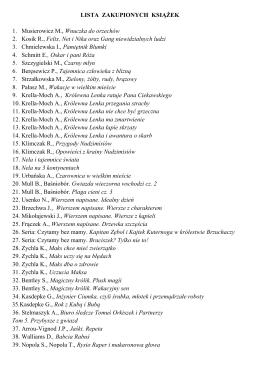 LISTA ZAKUPIONYCH KSIĄŻEK 1. Musierowicz M., Wnuczka do