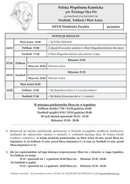 Ogłoszenia 04/10/2015 - Parafia Św. Ojca Pio w Londynie
