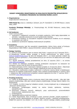 Zasady konkursu grantowego 2015/2016
