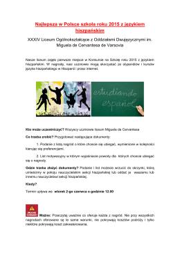 Najlepsza w Polsce szkoła roku 2015 z językiem hiszpańskim