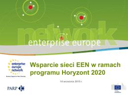 Wsparcie Sieci Enterprise Europe Network dla MŚP w Horyzoncie