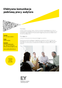 Broszura z programem - Ernst & Young Academy of Business