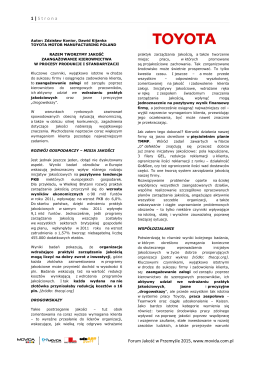 1 | Strona Forum Jakość w Przemyśle 2015, www.movida.com.pl
