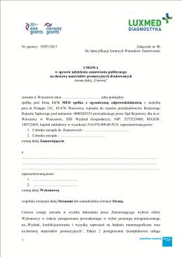 Nr sprawy: PZP1/2015 Załącznik nr 8b Do Specyfikacji Istotnych