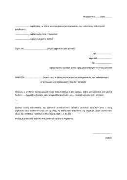 Wniosek o wydanie kopii dokumentów z akt sprawy