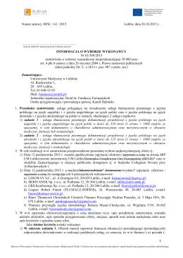 1 Numer sprawy: RPiU / 63 / 2015 Lublin, dnia 28.10.2015 r