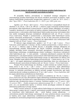 W sprawie istotnych odstępstw od zatwierdzonego projektu