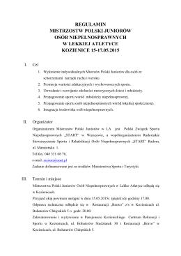 regulamin mistrzostw polski juniorów osób