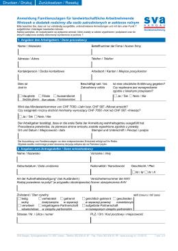 Anmeldung Familienzulagen für landwirtschaftliche